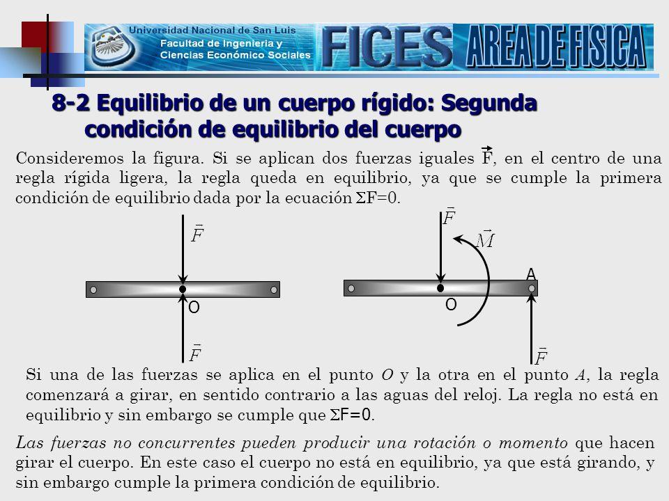 AREA DE FISICA 8-2 Equilibrio de un cuerpo rígido: Segunda condición de equilibrio del cuerpo.