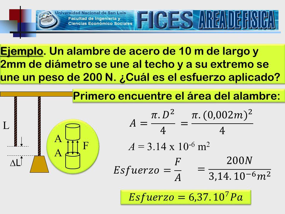AREA DE FISICA L 𝐴= 𝜋. 𝐷 2 4 = 𝜋 .(0,002𝑚) 2 4 A F A = 3.14 x 10-6 m2