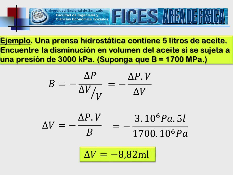 AREA DE FISICA 𝐵=− ∆𝑃 ∆𝑉 𝑉 =− ∆𝑃.𝑉 ∆𝑉 ∆𝑉=− ∆𝑃.𝑉 𝐵