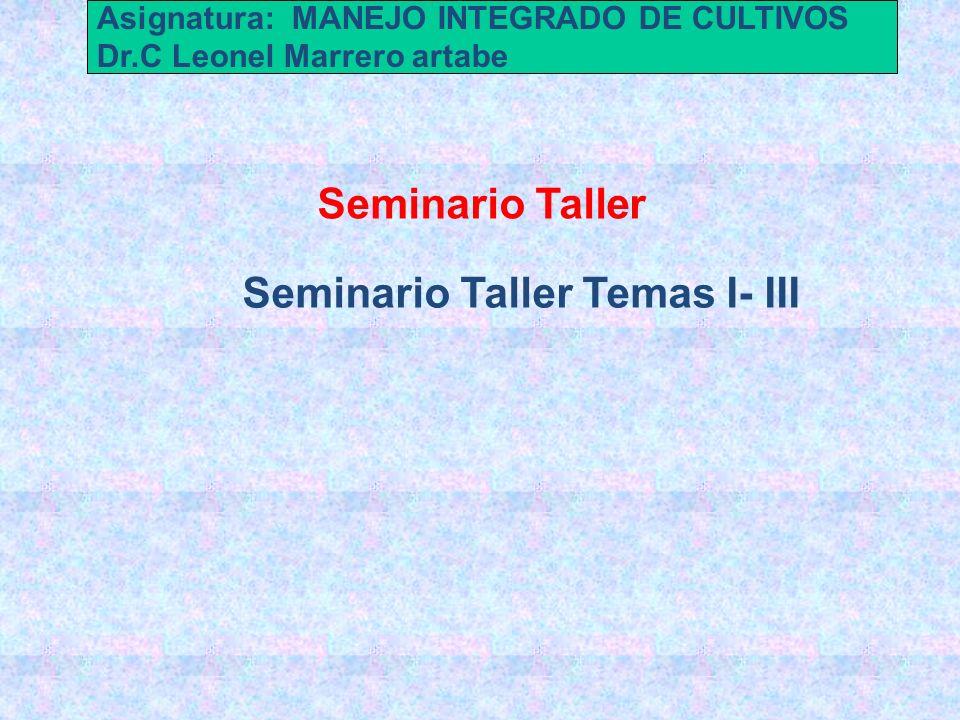 Seminario Taller Temas I- III Seminario Taller