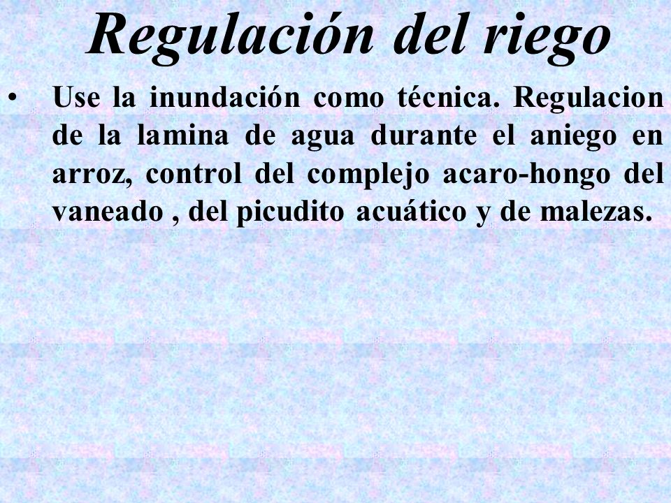 Regulación del riego