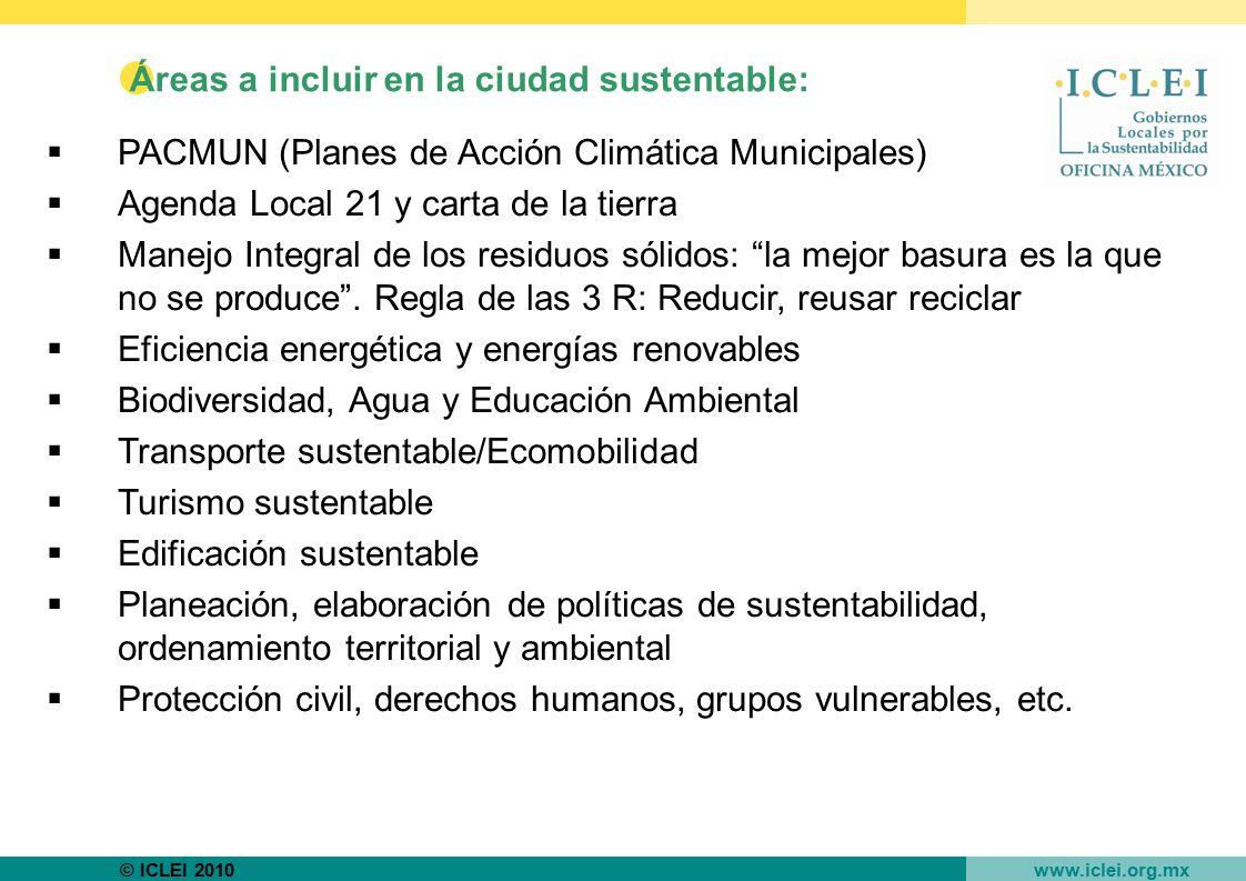 Áreas a incluir en la ciudad sustentable: