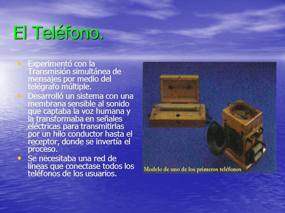 El Teléfono. Experimentó con la Transmisión simultánea de mensajes por medio del telégrafo múltiple.