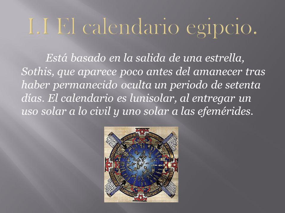 I.I El calendario egipcio.
