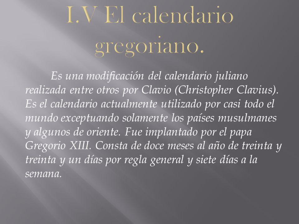 I.V El calendario gregoriano.