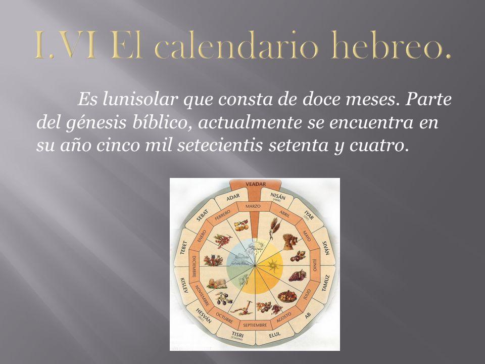 I.VI El calendario hebreo.