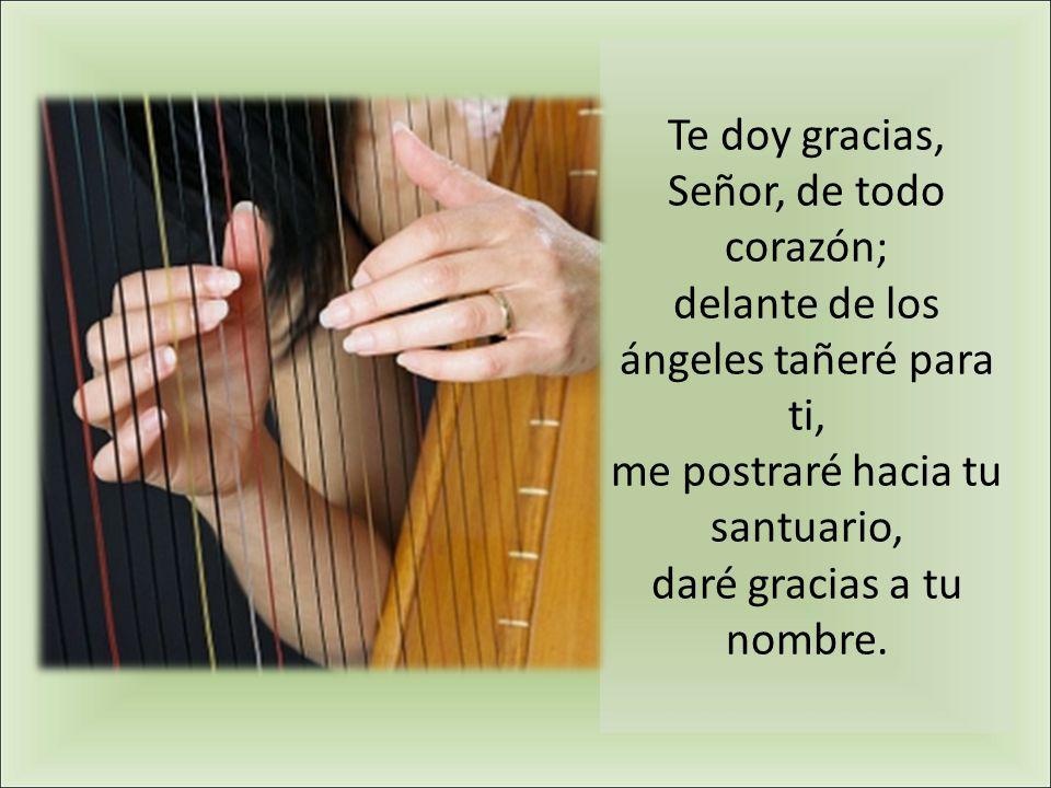 Te doy gracias, Señor, de todo corazón; delante de los ángeles tañeré para ti, me postraré hacia tu santuario, daré gracias a tu nombre.