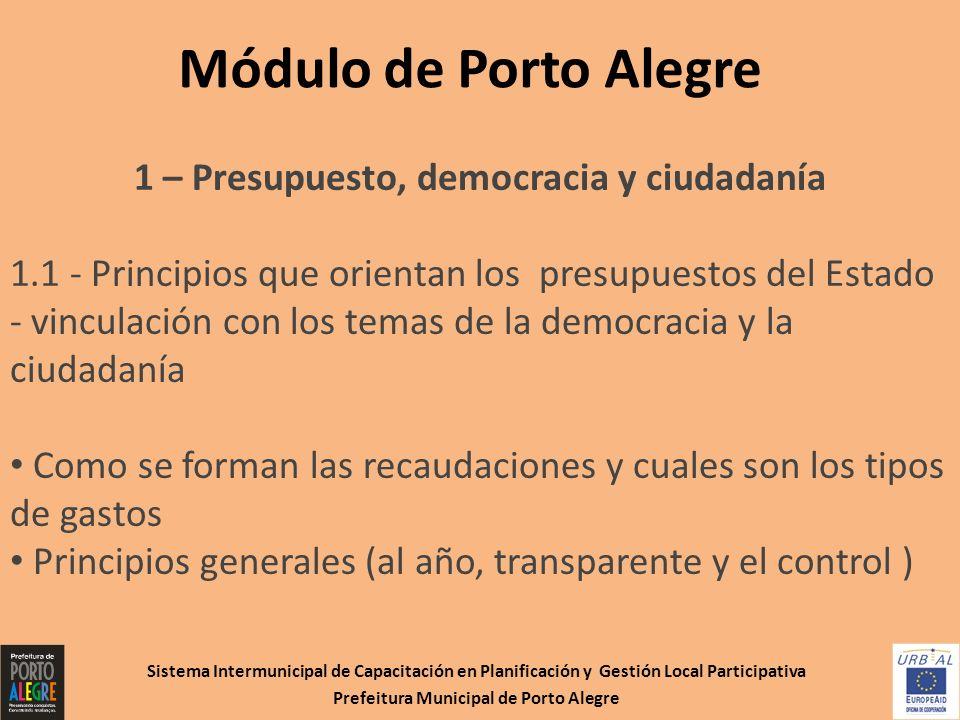 Módulo de Porto Alegre 1 – Presupuesto, democracia y ciudadanía