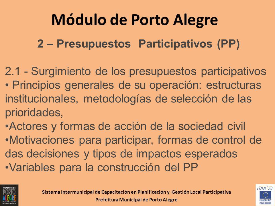 Módulo de Porto Alegre 2 – Presupuestos Participativos (PP)
