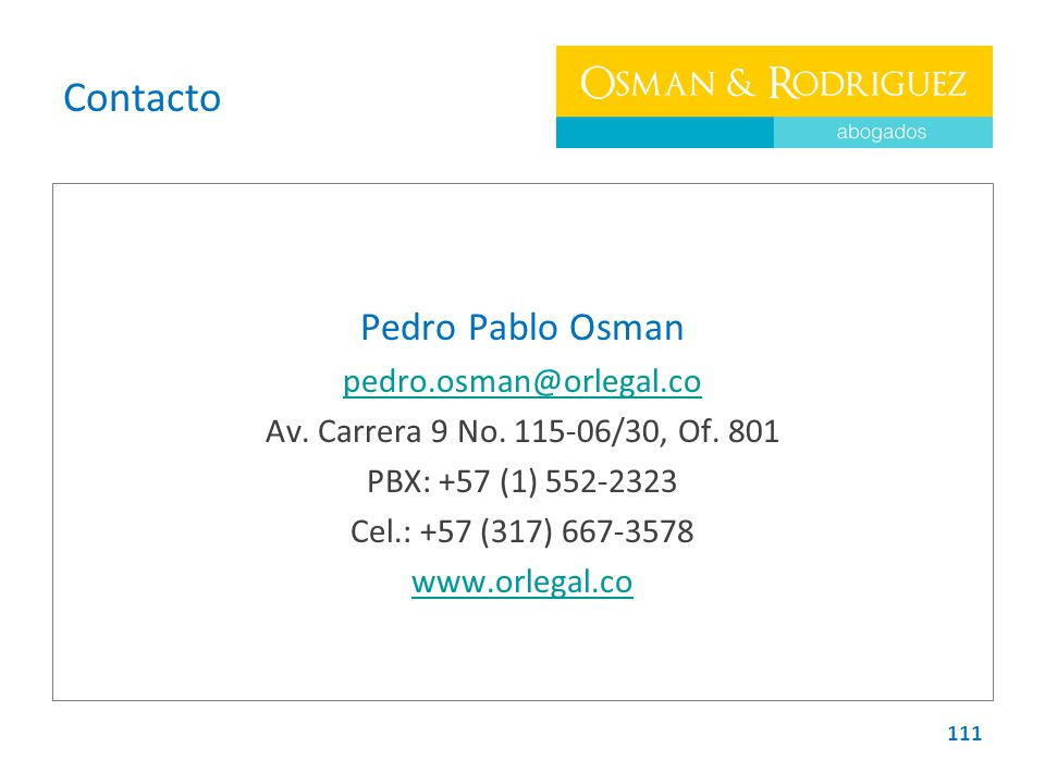 Contacto Pedro Pablo Osman pedro.osman@orlegal.co