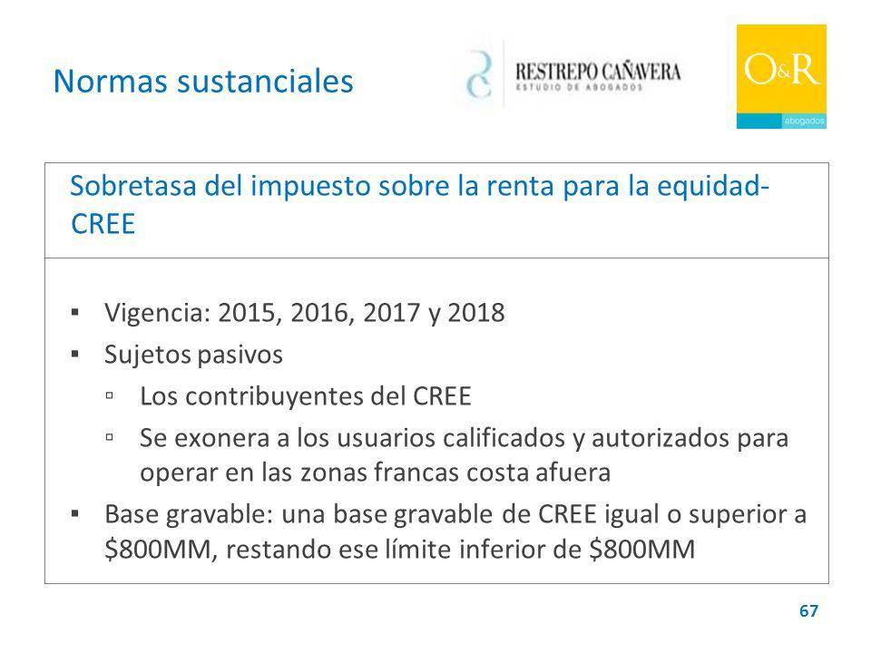 Normas sustanciales Sobretasa del impuesto sobre la renta para la equidad-CREE. ▪ Vigencia: 2015, 2016, 2017 y 2018.