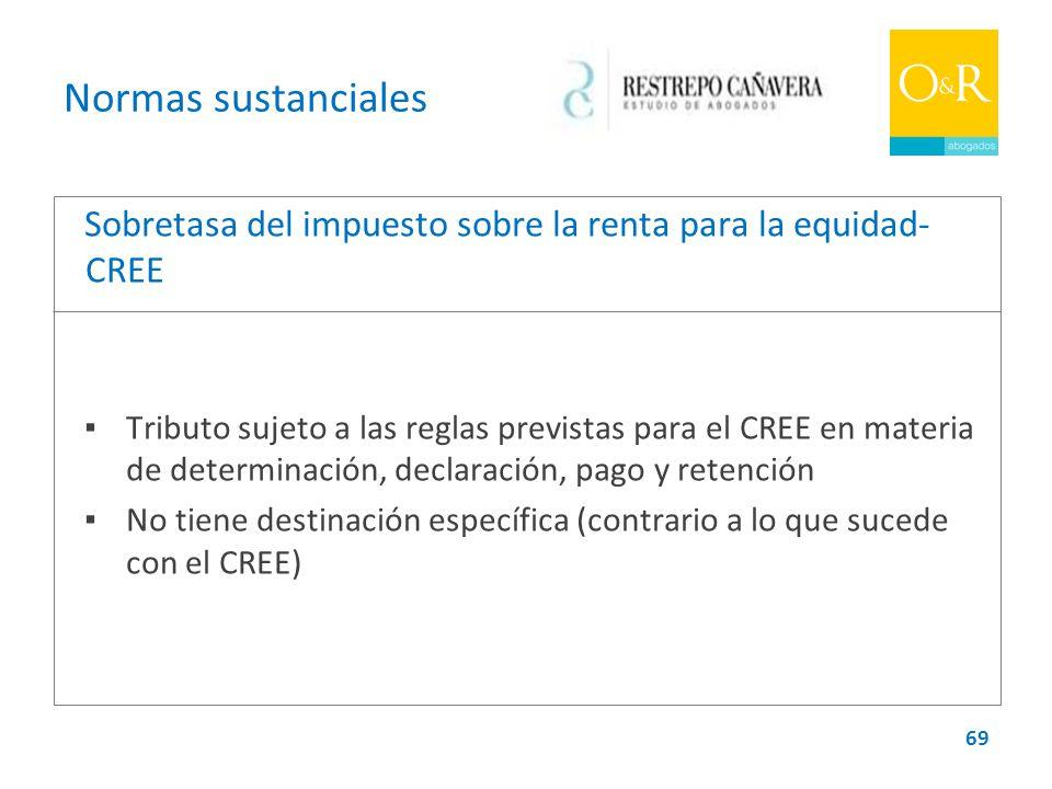 Normas sustanciales Sobretasa del impuesto sobre la renta para la equidad-CREE.