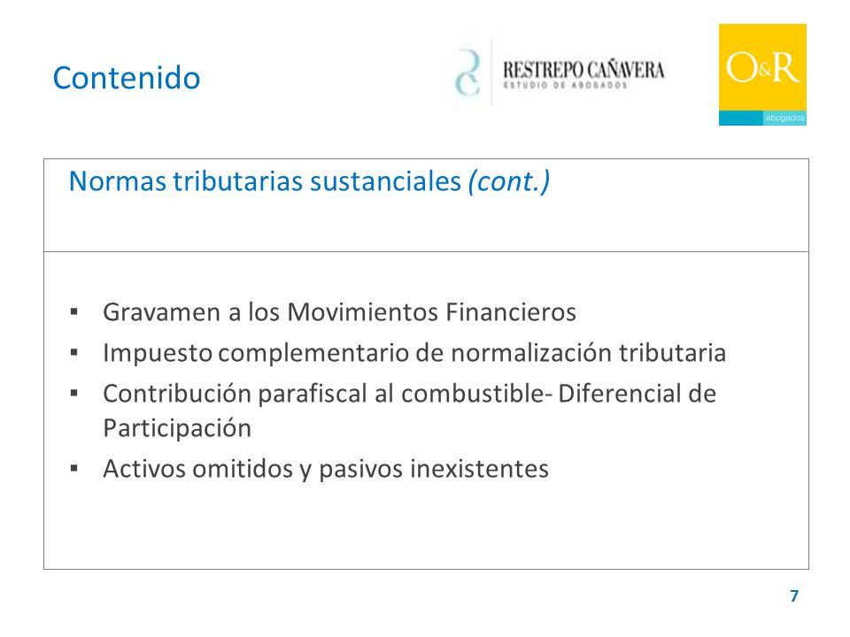 Contenido Normas tributarias sustanciales (cont.)