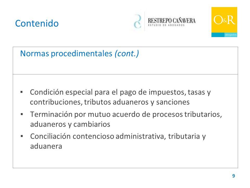 Contenido Normas procedimentales (cont.)