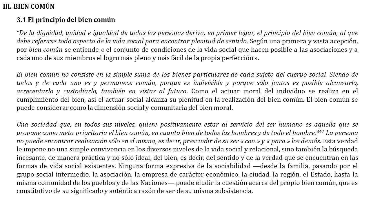 III. BIEN COMÚN 3.1 El principio del bien común.