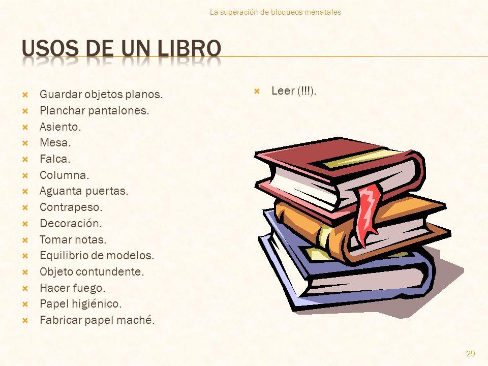 Usos de un libro Leer (!!!). Guardar objetos planos.
