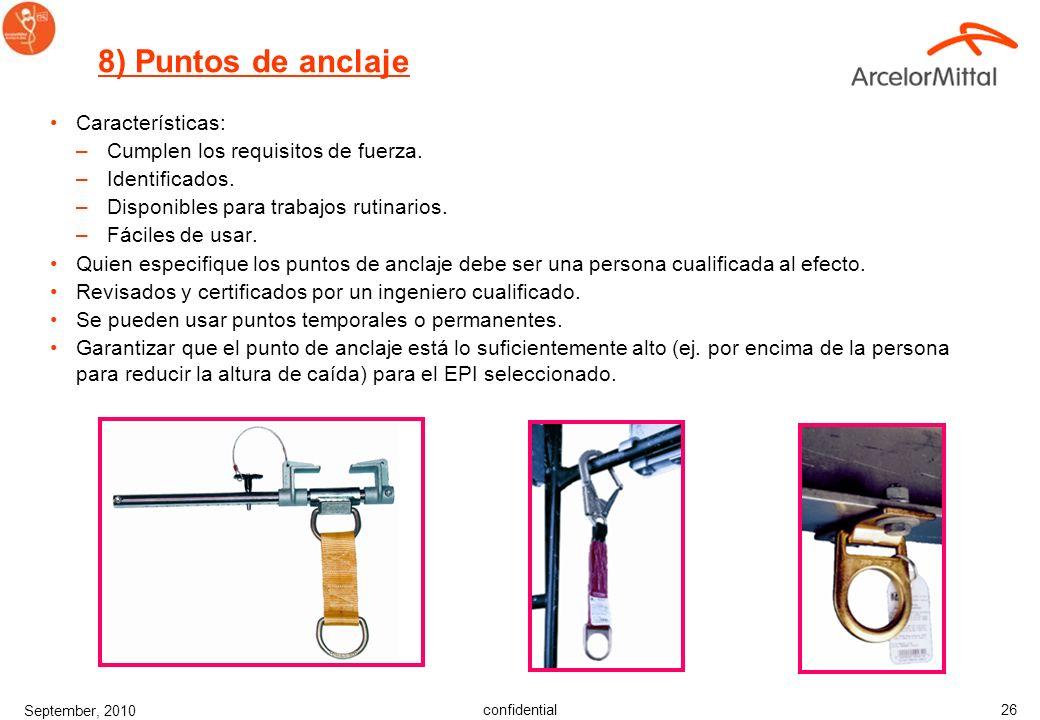 8) Puntos de anclaje Características: