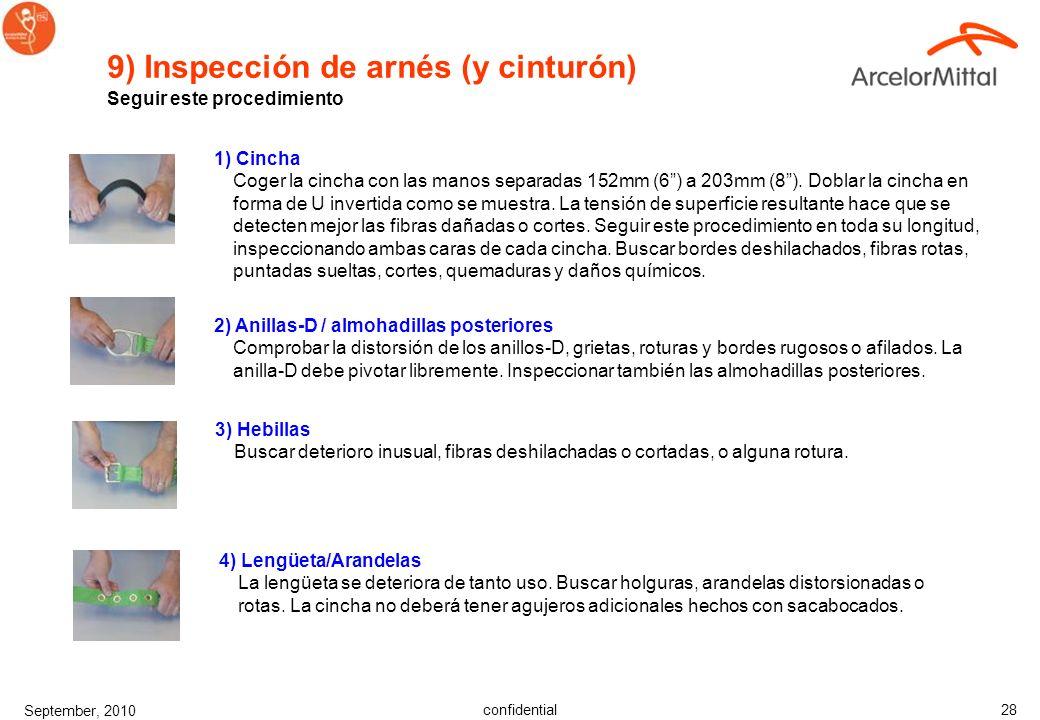 9) Inspección de arnés (y cinturón)