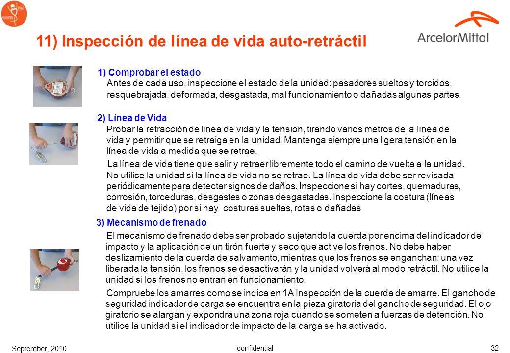 11) Inspección de línea de vida auto-retráctil