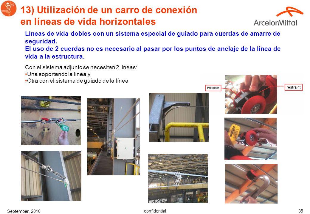 13) Utilización de un carro de conexión en líneas de vida horizontales