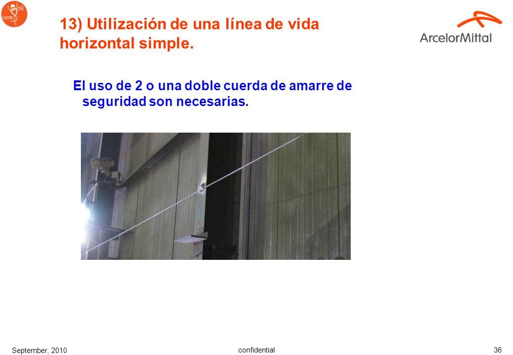 13) Utilización de una línea de vida horizontal simple.