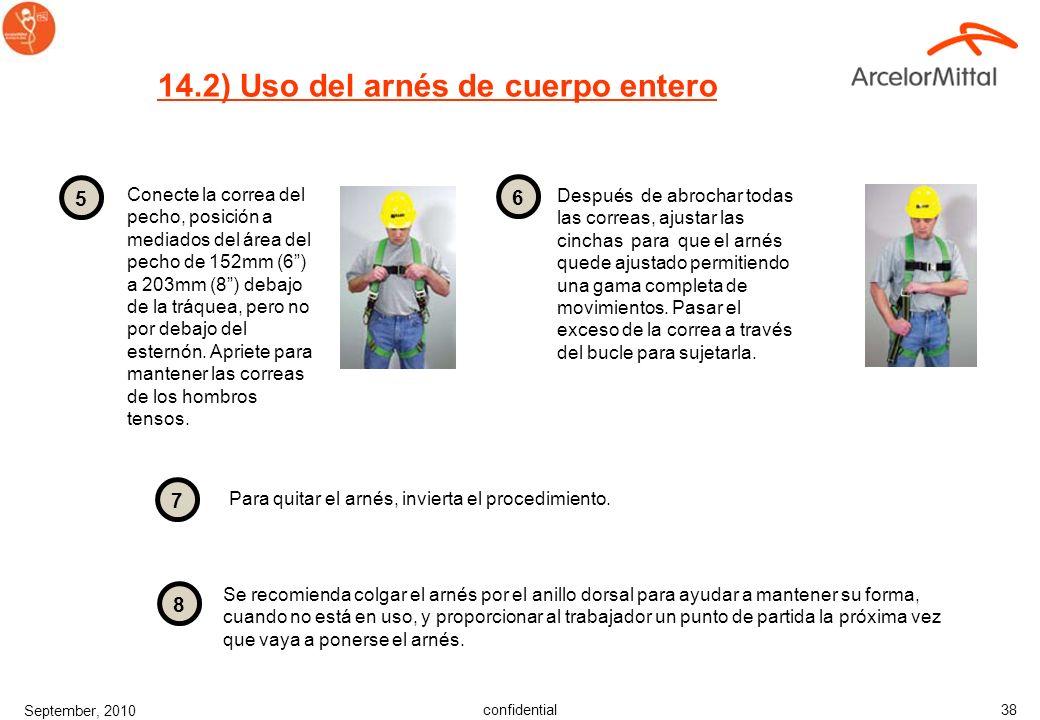 14.2) Uso del arnés de cuerpo entero