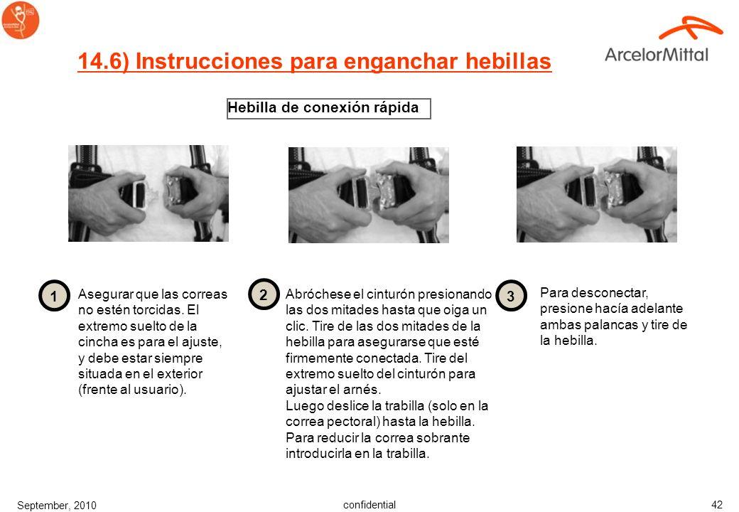 14.6) Instrucciones para enganchar hebillas