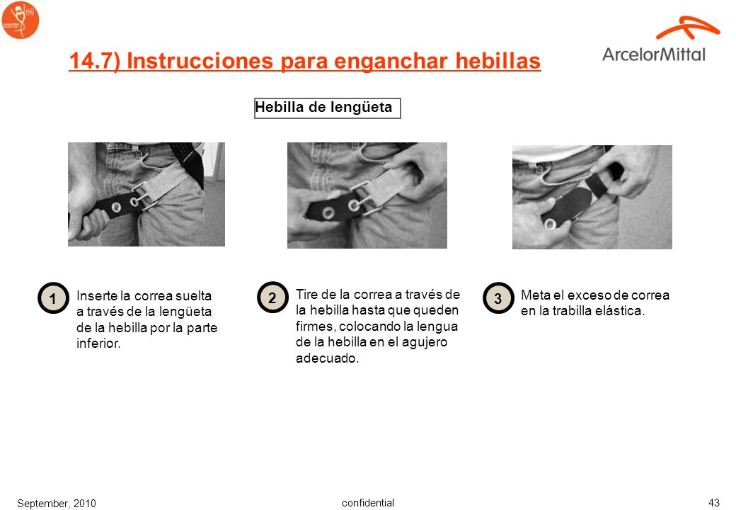 14.7) Instrucciones para enganchar hebillas