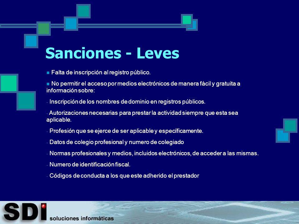 Sanciones - Leves Falta de inscripción al registro público.