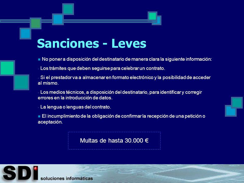 Sanciones - Leves Multas de hasta 30.000 €