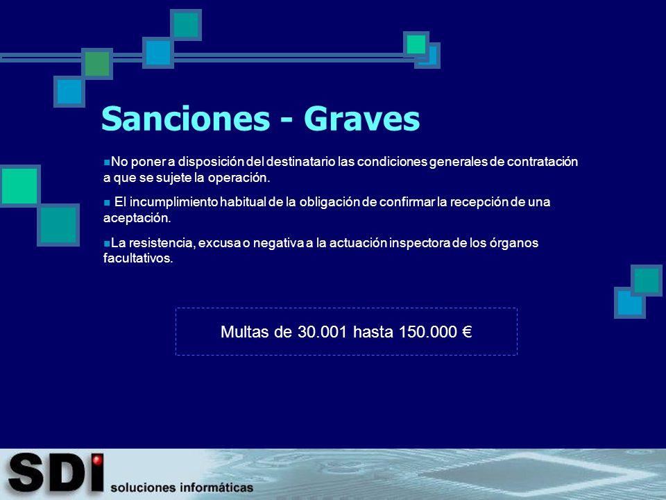 Sanciones - Graves Multas de 30.001 hasta 150.000 €