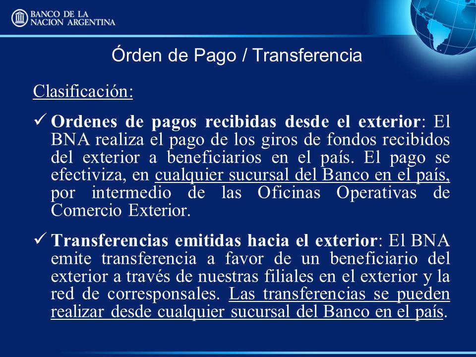 Órden de Pago / Transferencia