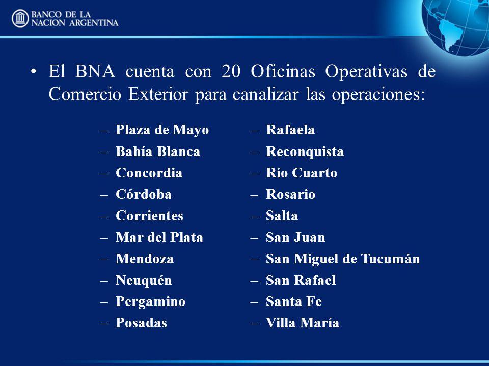 El BNA cuenta con 20 Oficinas Operativas de Comercio Exterior para canalizar las operaciones: