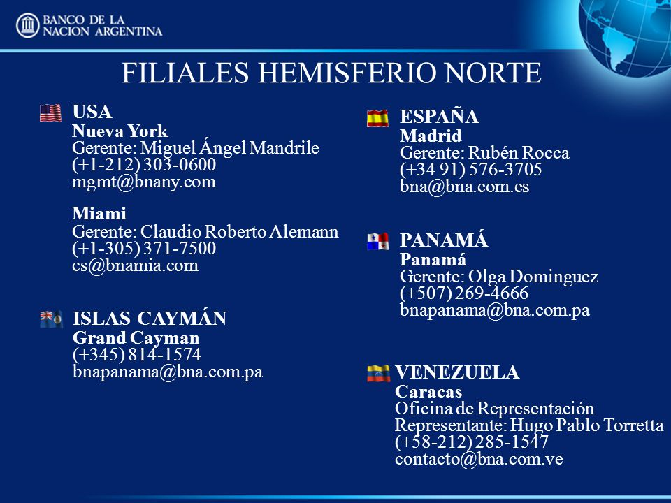 FILIALES HEMISFERIO NORTE