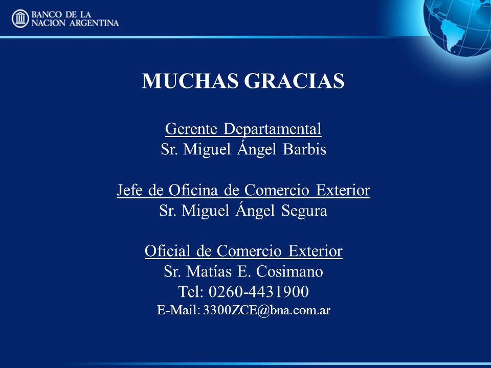 MUCHAS GRACIAS Gerente Departamental Sr. Miguel Ángel Barbis