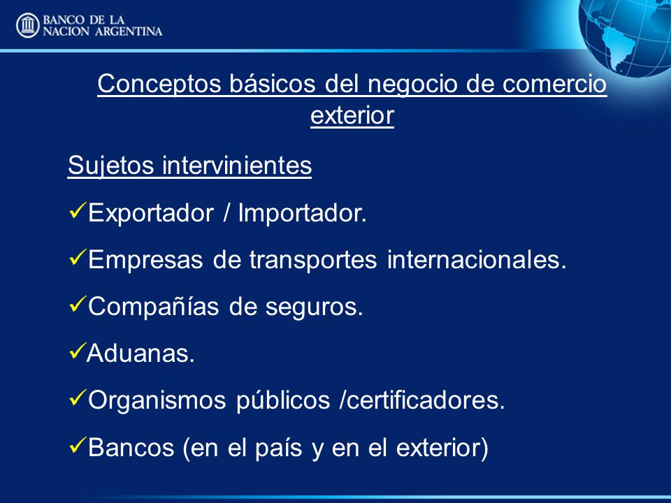 Banco de la nacion argentina ppt descargar for Concepto de exterior