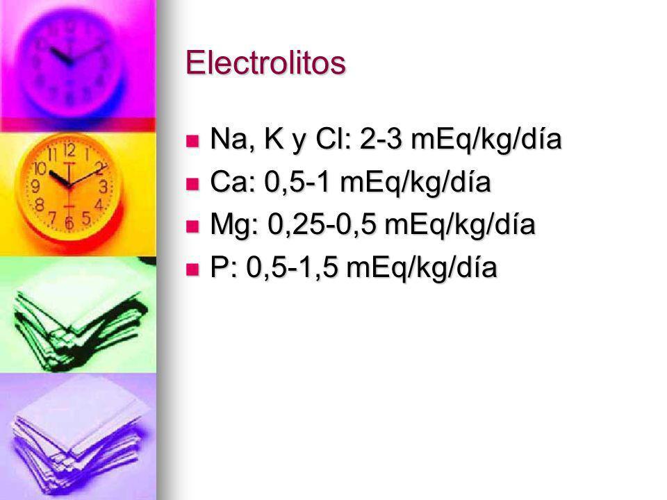Electrolitos Na, K y Cl: 2-3 mEq/kg/día Ca: 0,5-1 mEq/kg/día