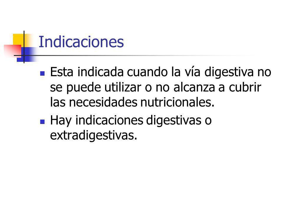 IndicacionesEsta indicada cuando la vía digestiva no se puede utilizar o no alcanza a cubrir las necesidades nutricionales.