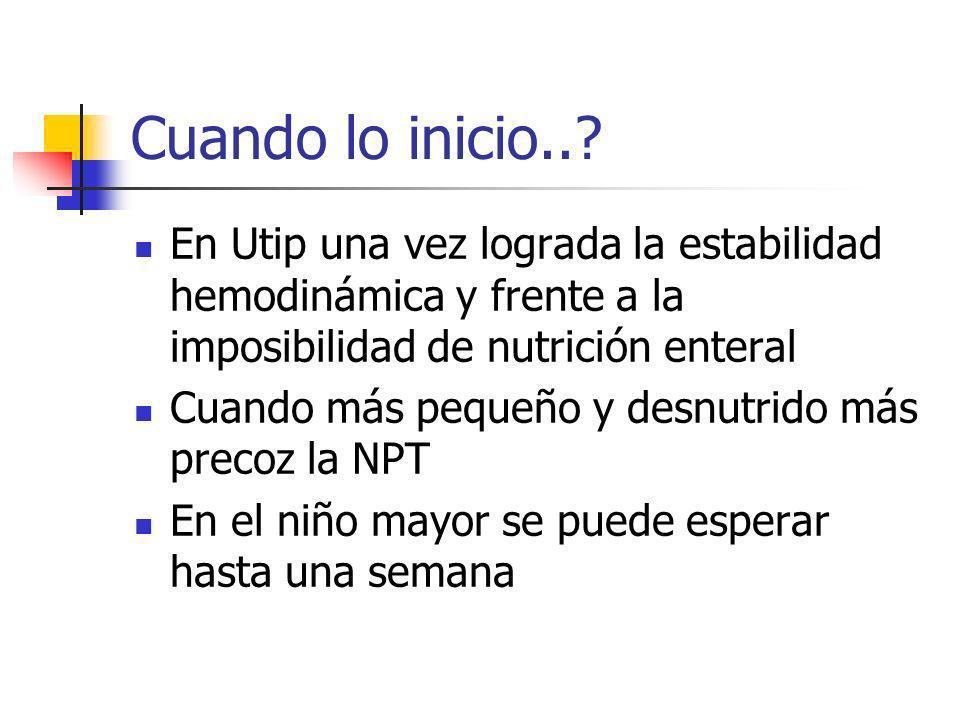 Cuando lo inicio.. En Utip una vez lograda la estabilidad hemodinámica y frente a la imposibilidad de nutrición enteral.