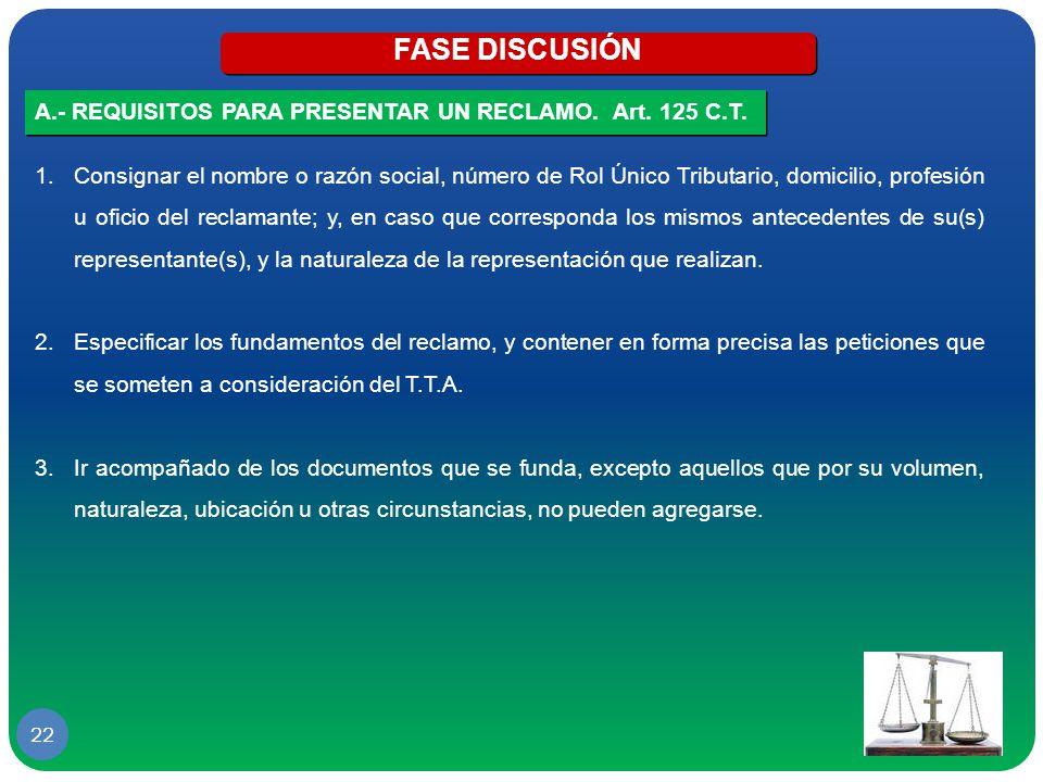 FASE DISCUSIÓN A.- REQUISITOS PARA PRESENTAR UN RECLAMO. Art. 125 C.T.