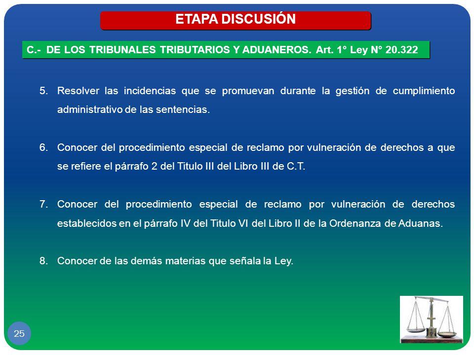 ETAPA DISCUSIÓN C.- DE LOS TRIBUNALES TRIBUTARIOS Y ADUANEROS. Art. 1° Ley N° 20.322.