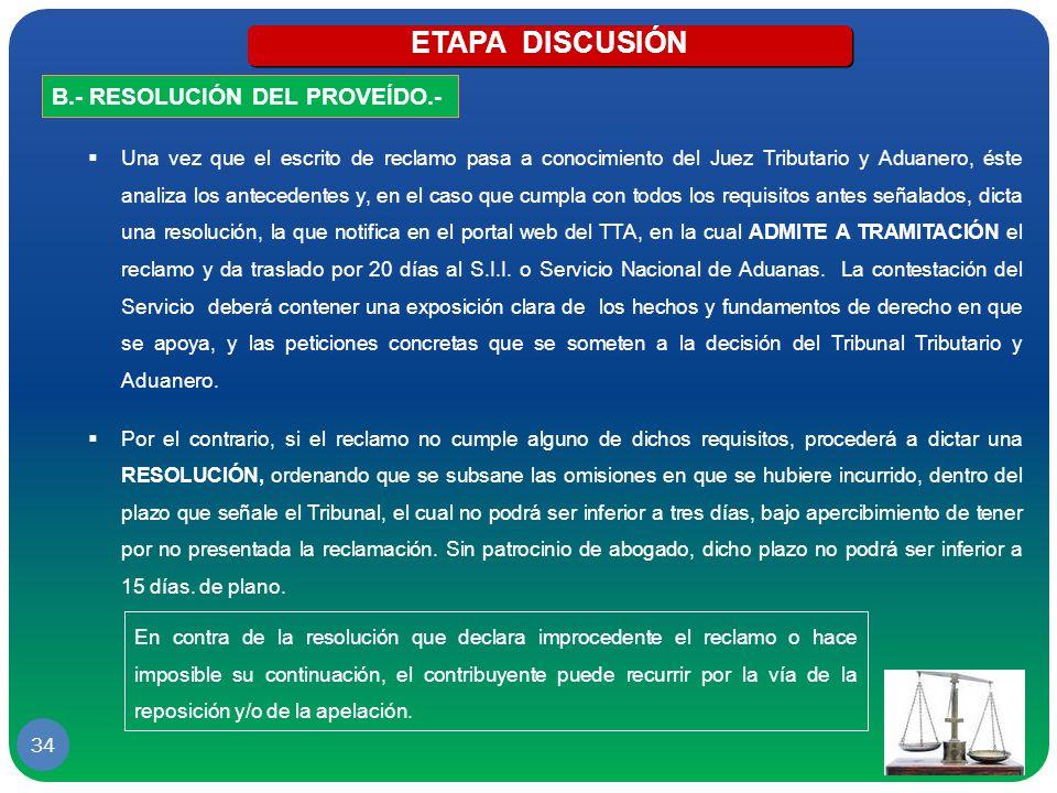 ETAPA DISCUSIÓN B.- RESOLUCIÓN DEL PROVEÍDO.-