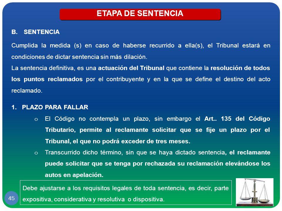 ETAPA DE SENTENCIA SENTENCIA