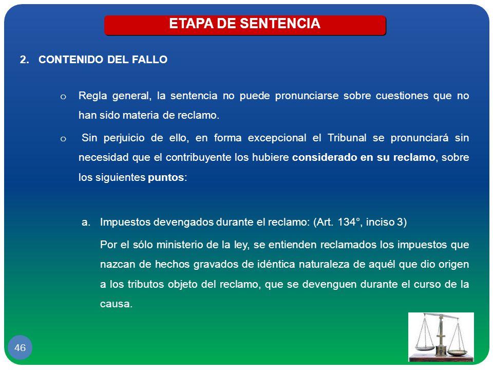 ETAPA DE SENTENCIA CONTENIDO DEL FALLO