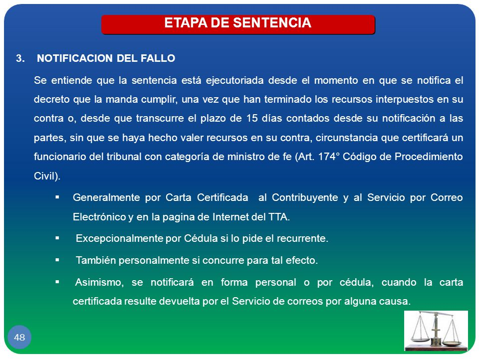ETAPA DE SENTENCIA NOTIFICACION DEL FALLO