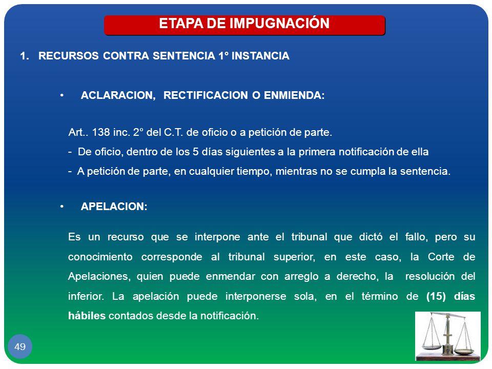 ETAPA DE IMPUGNACIÓN RECURSOS CONTRA SENTENCIA 1° INSTANCIA