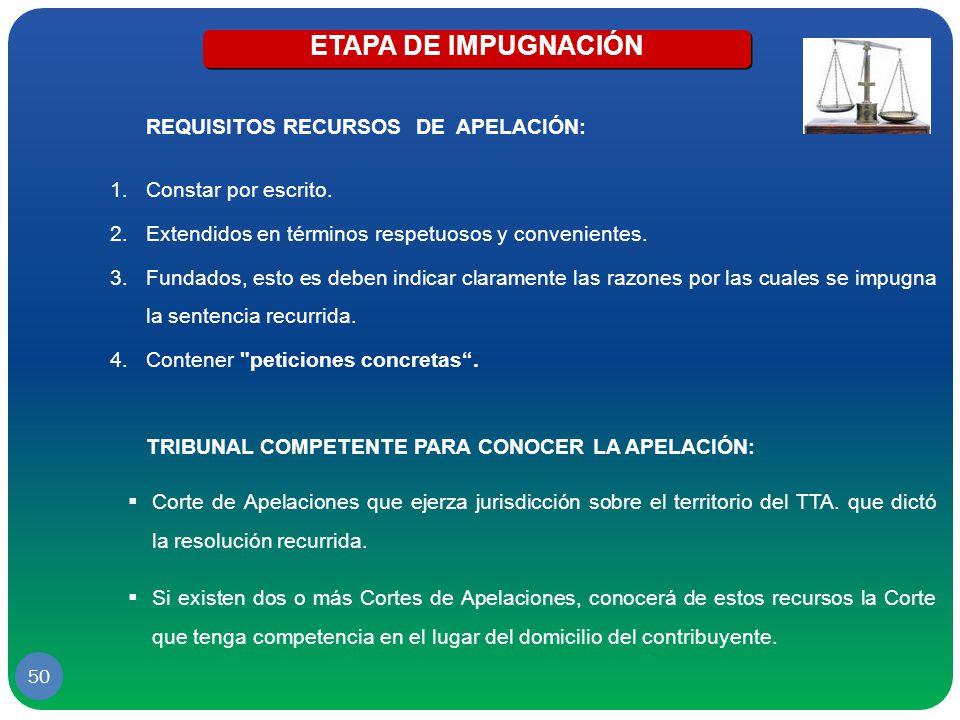 ETAPA DE IMPUGNACIÓN REQUISITOS RECURSOS DE APELACIÓN: