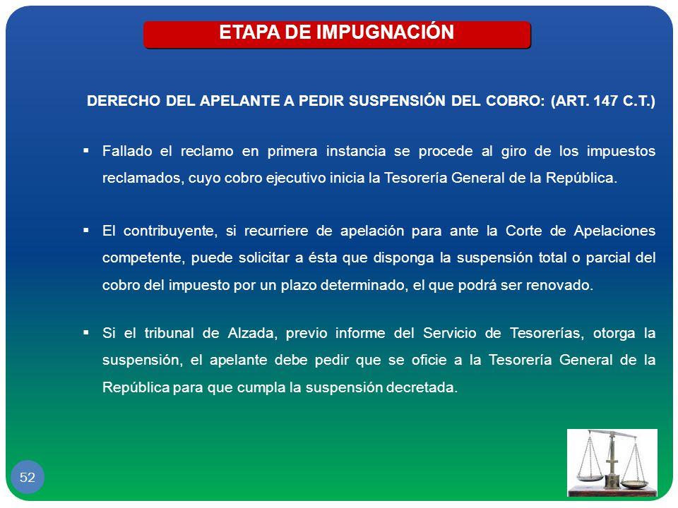 ETAPA DE IMPUGNACIÓN DERECHO DEL APELANTE A PEDIR SUSPENSIÓN DEL COBRO: (ART. 147 C.T.)