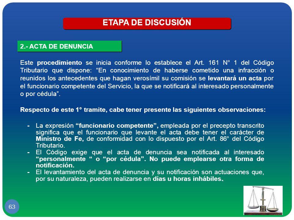 ETAPA DE DISCUSIÓN 2.- ACTA DE DENUNCIA