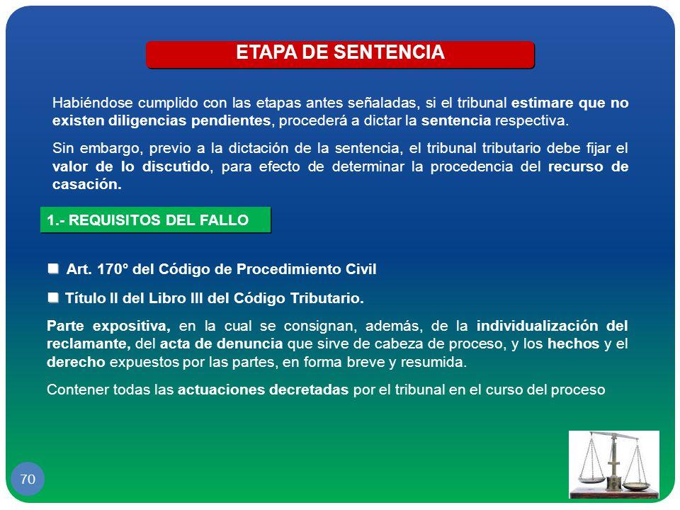 ETAPA DE SENTENCIA  Art. 170° del Código de Procedimiento Civil